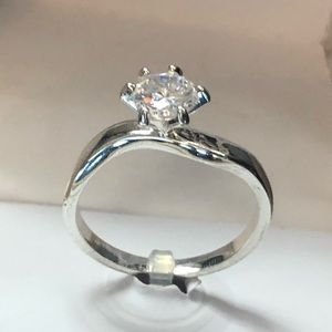 """New Charter Club sz 9 Silver """"engagement"""" ring"""